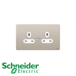 施耐德 Ultimate 兩位 電源 插座 珍珠鎳 白邊