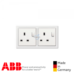 ABB future® linear 2 Gang Socket Outlet Matt white
