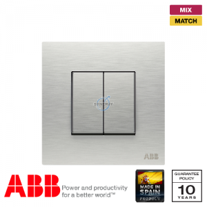 ABB Millenium 2 Gang Retractive Switch - Stainless Steel
