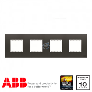 ABB Millenium 4 Gang Cover Frame Silk Black