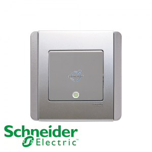 Schneider E3000 Vertical Switch w/ Fluorescent Indicator Grey Silver