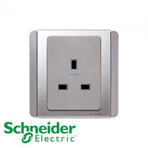 Schneider E3000 1 Gang Socket Outlet Grey Silver