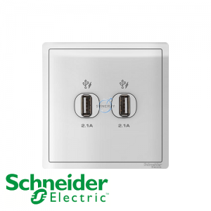 Schneider PIENO 2 Gang USB Socket Outlet White
