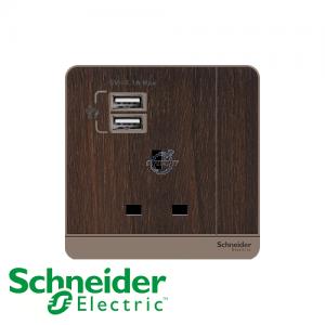 Schneider AvatarOn 1 Gang Socket Outlet w/ USB Charger Wood