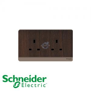 Schneider AvatarOn 2 Gang Socket Outlet Wood