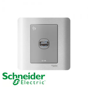 Schneider ZENcelo 1 Gang USB Socket Silver Satin