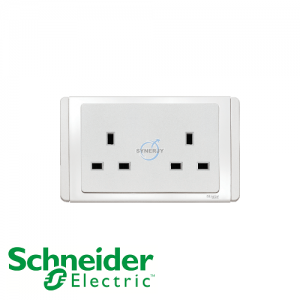 Schneider E3000 2 Gang Socket Outlet White