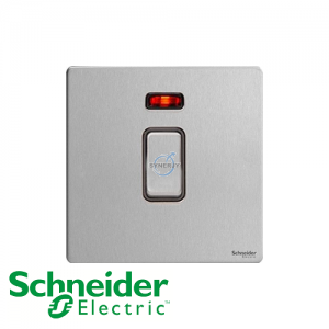 Schneider Ultimate Double Pole Switch Stainless Steel Black
