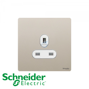 Schneider Ultimate 1 Gang Socket Pearl Nickel White