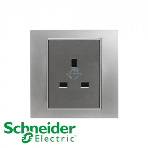 Schneider Unica 1 Gang 13A Socket Outlet Matt Chrome