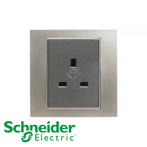Schneider Unica 1 Gang 13A Socket Outlet Matt Nickel