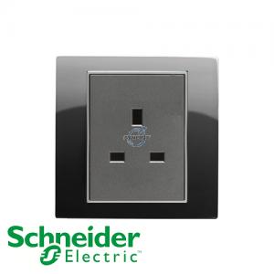 Schneider Unica 1 Gang 13A Socket Outlet Rhodium Black