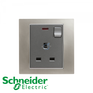 Schneider Unica 1 Gang 13A Switched Socket Outlet w/ Neon Matt Nickel