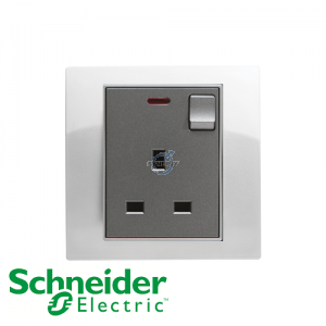 Schneider Unica 1 Gang 13A Switched Socket Outlet w/ Neon White