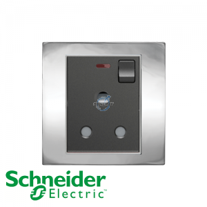 Schneider Unica 1 Gang 15A Switched Socket Outlet w/ Neon Bright Chrome