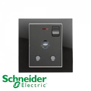 Schneider Unica 1 Gang 15A Switched Socket Outlet w/ Neon Black Mirror