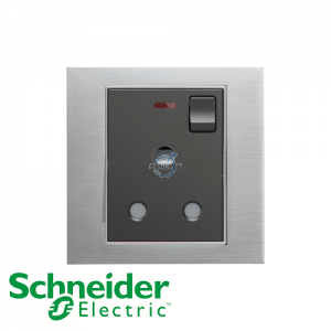 Schneider Unica 1 Gang 15A Switched Socket Outlet w/ Neon Ice Aluminium