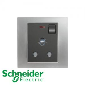 Schneider Unica 1 Gang 15A Switched Socket Outlet w/ Neon Matt Chrome