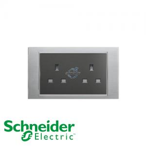 Schneider Unica 2 Gang 13A Socket Outlet Ice Aluminium