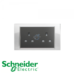 Schneider Unica 2 Gang 13A Socket Outlet White
