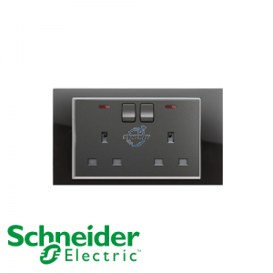 Schneider Unica 2 Gang 13A Switched Socket Outlet w/ Neon Black Mirror