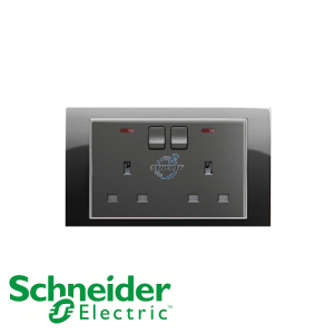 Schneider Unica 2 Gang 13A Switched Socket Outlet w/ Neon Rhodium Black