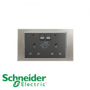 施耐德 Unica 兩位 13A 有掣 電源 插座 連指示燈 磨砂鎳銀