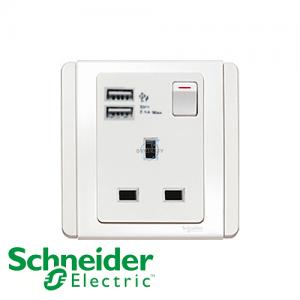 施耐德 E3000 单位 插座 连USB 充电 白