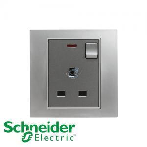 施耐德 Unica 单位 13A 有掣 电源 插座 连指示灯 磨砂铬灰
