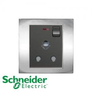 施耐德 Unica 单位 15A 有掣 电源 插座 连指示灯 炫铬灰
