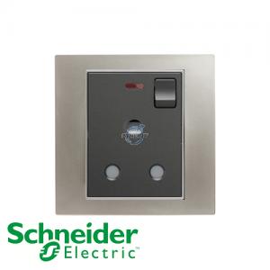 施耐德 Unica 单位 15A 有掣 电源 插座 连指示灯 磨砂镍银