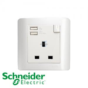 施耐德 ZENcelo 单位 插座 连USB 充电 凝白色