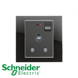 施耐德 Unica 单位 15A 有掣 电源 插座 连指示灯 镜面黑