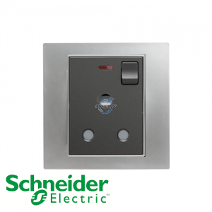 施耐德 Unica 单位 15A 有掣 电源 插座 连指示灯 磨砂铬灰