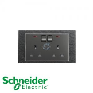 施耐德 Unica 两位 13A 有掣 电源 插座 连指示灯 石纹灰