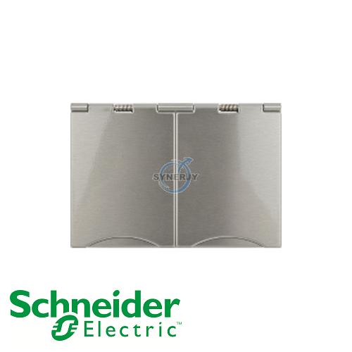 Schneider Ultimate 2 Gang Floor Socket Stainless Steel White