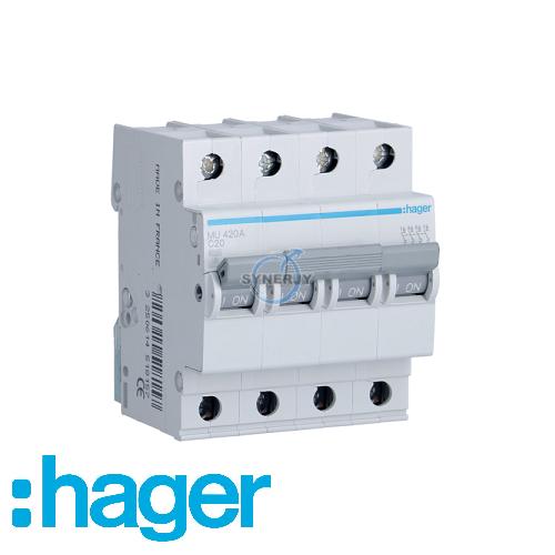 Hager Four Pole MCB 4P 6kA C Curve