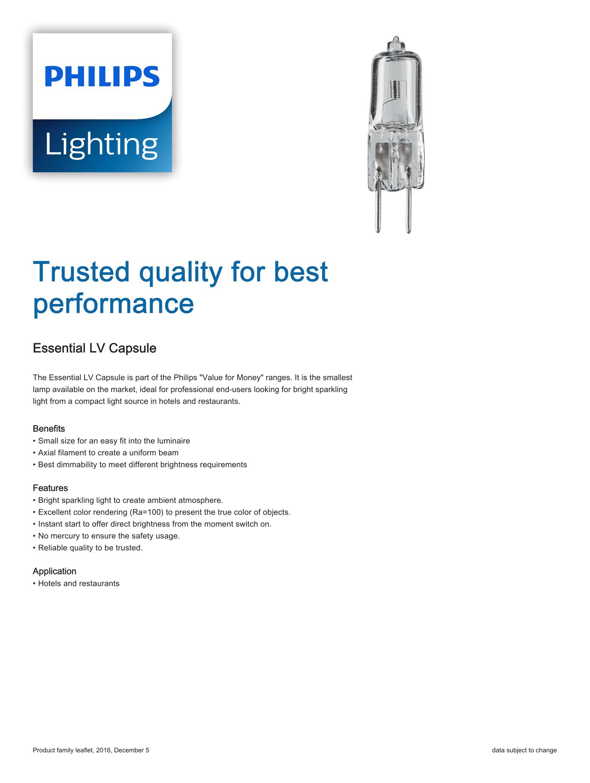 Philips Essential LV Capsule Brochure